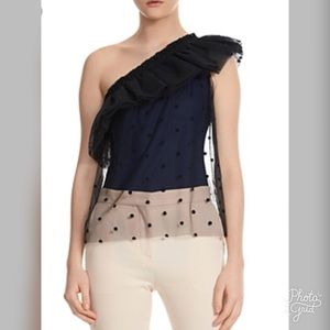 Maje Lower One Shoulder Overlay Bodysuit- ChicEwe